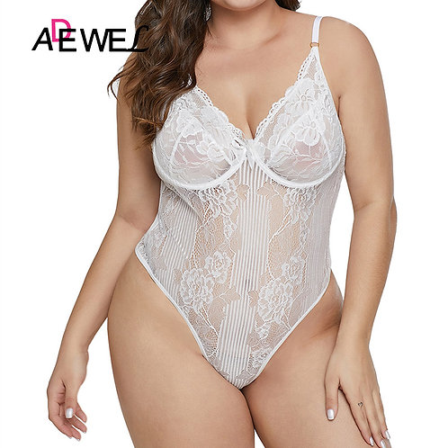 Plus Size White Lace Mesh Transparent Bodysuit Women Sleeveless Teddy Rompers