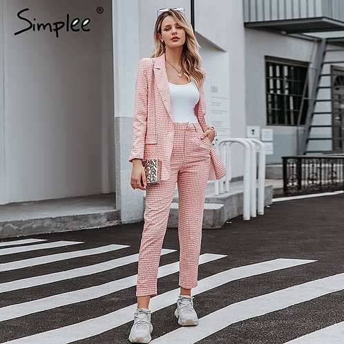 Casual Women Pink Plaid Blazer Single Breasted Female Office Pants Blazer