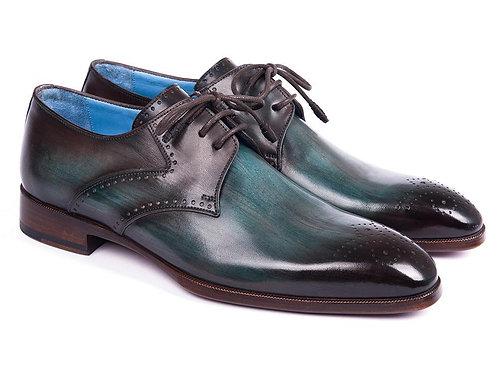 Paul Parkman Turquoise & Brown Medallion Toe Derby Shoes