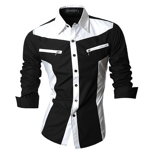 Jeansian Spring Autumn Features Shirts Men Casual Shirt Long Sleeve Male Shirts