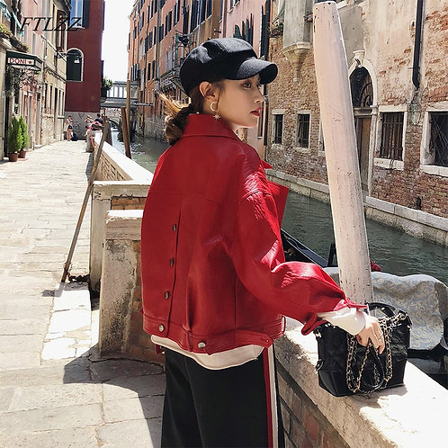 Leather Jacket Women Loose Collar Single Breasted Motorcycle Leather Coats