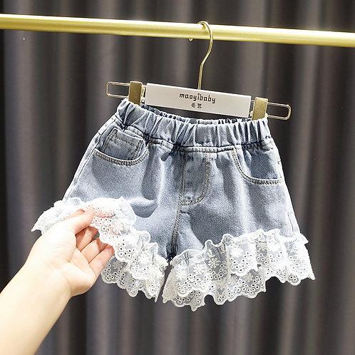 Girls Denim Shorts Teenage Girl Summer Lace Pants Kids Bow Clothes