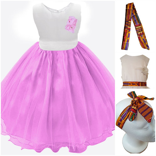 Novarena Kente African Print White and Pink Girls Dresses - Flowers