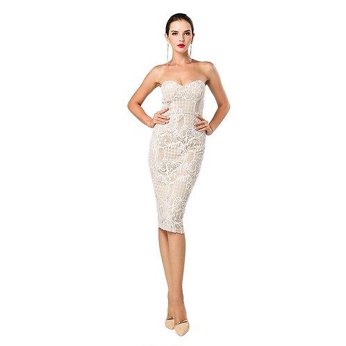 Strapless Beige Cocktail Dress