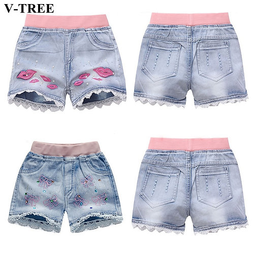 V-Tree Girls Denim Shorts Teenage Girl Summer Lace Pants Kids Bow Clothes