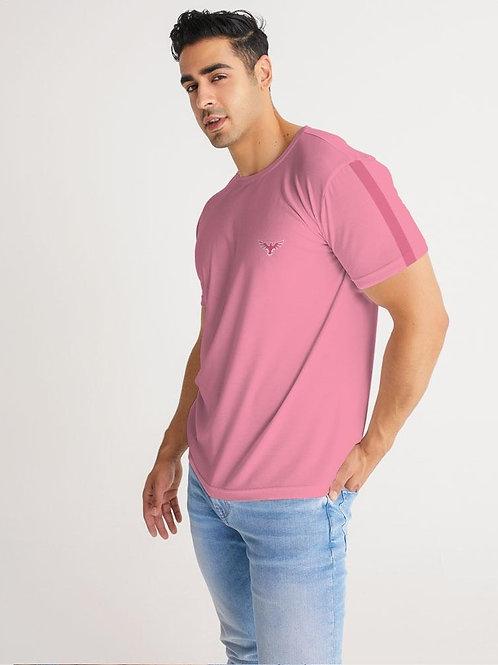 Men's Charter Stripe Performance Crewneck Sunset Pink Shirt