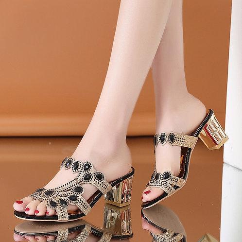 Women Summer Slipper Sandals Fashion Hgih Heels Open Toe Crystal Sandals