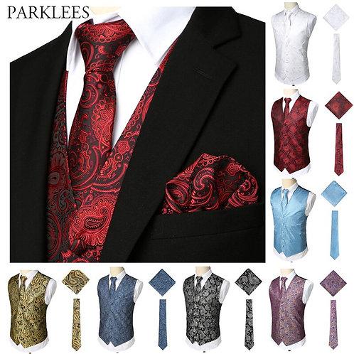 Luxury Wine Red 3pcs Paisley Waistcoat Vest Necktie Handkerchief Set