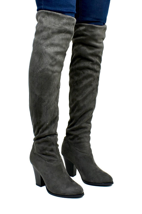 Women's Over the Knee Cloth Heeled Boot Grey