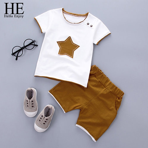HE Hello Enjoy Kids Clothes Toddler Boys Clothing Set Children Summer