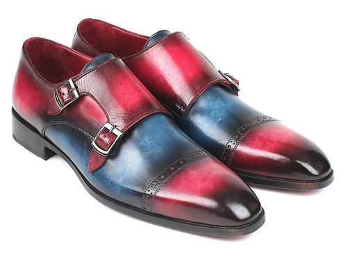 Paul Parkman Captoe Double Monkstraps Blue & Fuxia