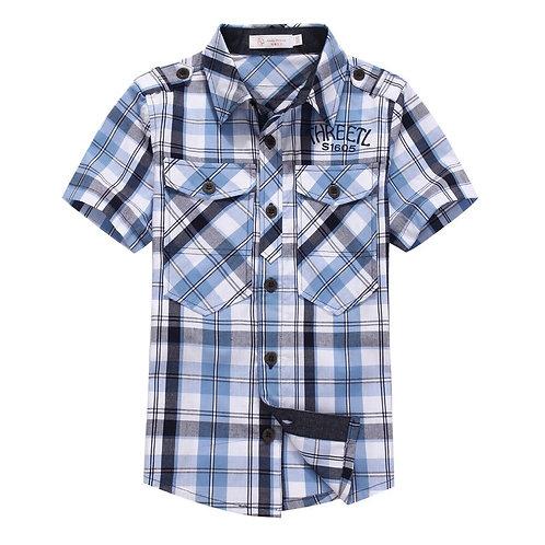 Summer Boys Short-Sleeve Shirt Children  Plaid Shirt Clothing Summer 100% Cotton