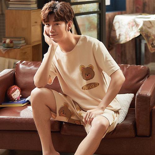 Men's Pajamas Set Summer Short-Sleeve 100% Cotton Nightwear Home Wear Suits