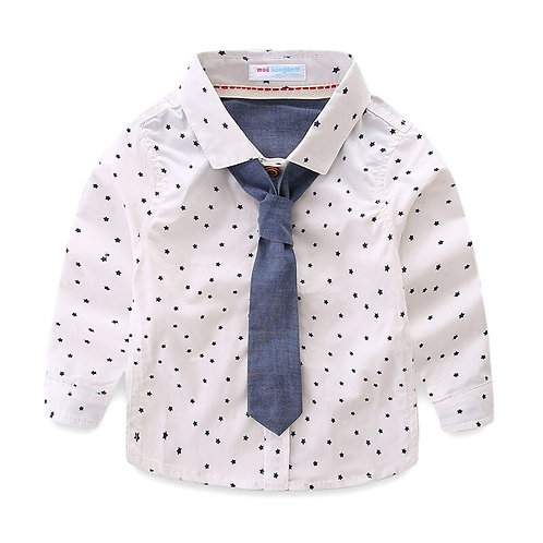 Mudkingdom Little Boy Shirts Star Formal White With Tie Spring Autumn Party