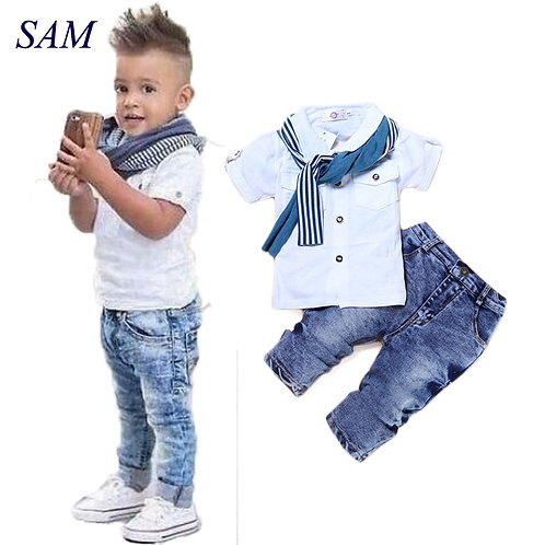 Baby Boy Clothes Casual T-Shirt+Scarf+Jeans 3pc Baby Clothing Set Summer Child