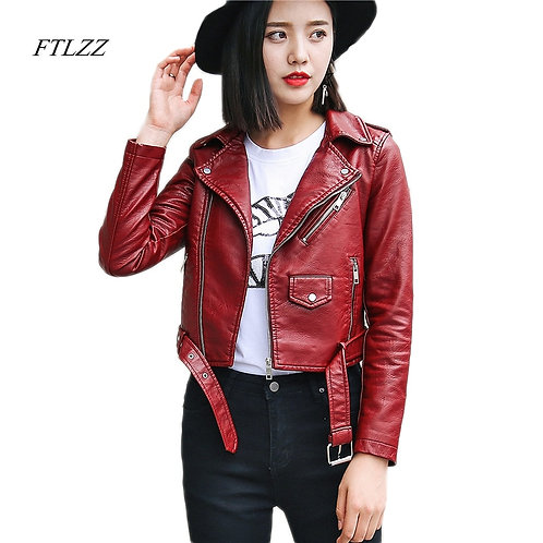 Pu Leather Jacket Women Fashion Bright Colors Black Motorcycle Coat