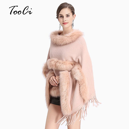 New Fashion Women Spring  Faux Fur Bat Sleeve Pink Round-Neck Knit Sweater