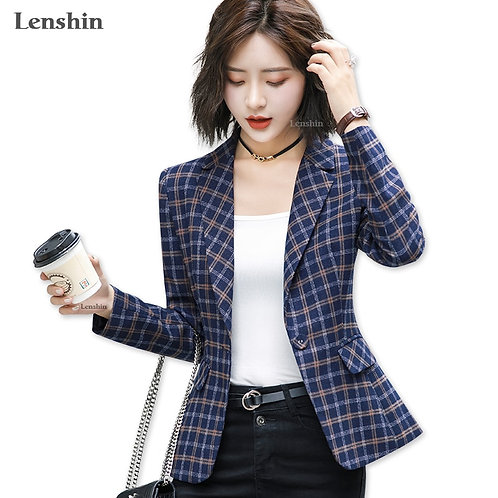 Soft and Comfortable High-Quality Plaid Jacket With Pocket Office Lady  Blazer