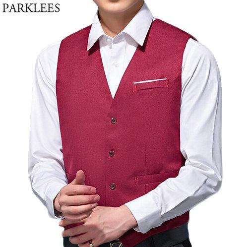 Mens v Neck Suit Vest Single Breasted Wine Red Wedding Dress Waistcoat