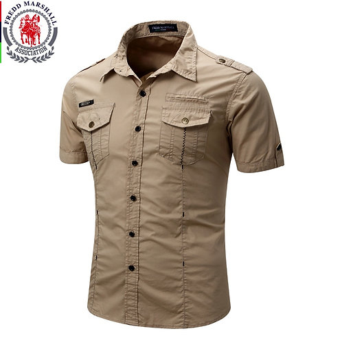 Men's Shirt 2019 New Men Cargo Shirt Fashion Casual Shirt