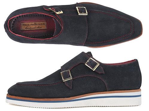 Paul Parkman Men's Smart Casual Monkstrap Shoes Navy Suede