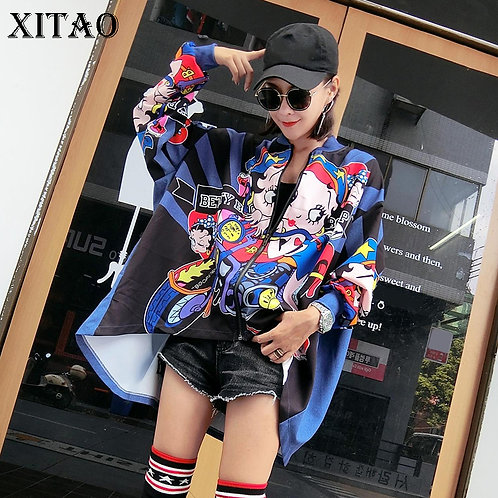 Women Cartoon Jackets Plus Size Japanese Streetwear