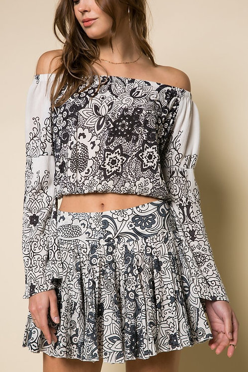 Smoking Rose Ruffle Skirt