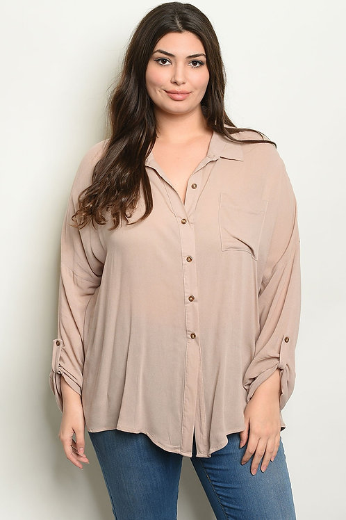 Beige Plus Size Top
