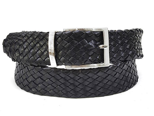 PAUL PARKMAN Men's Woven Leather Belt Black (ID#B07-BLK)