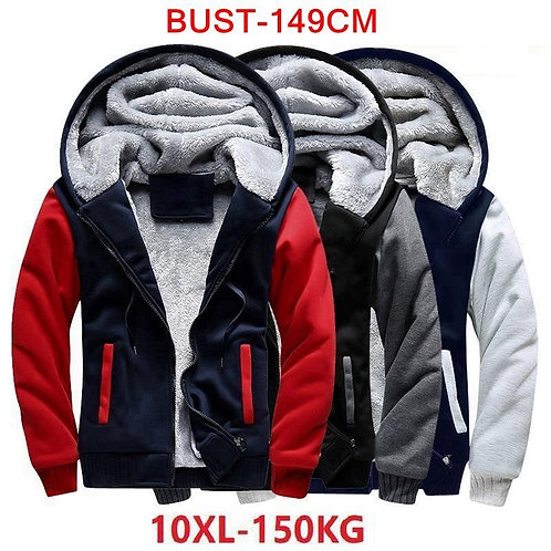 Men's Large Size Hoodie Long Sleeve Zipper Autumn Winter  Jacket