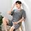 Thumbnail: Men's Pajamas Set Summer Short-Sleeve Cotton Nightwear Striped Home Wear Suits