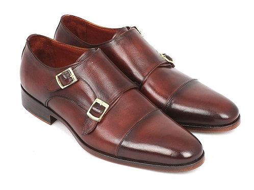 Paul Parkman Men's Cap-Toe Double Monkstraps Brown