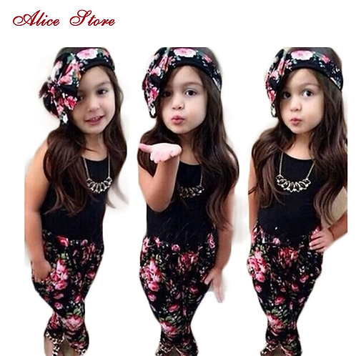 Girls Fashion Floral Casual Suit Children Clothing Set Sleeveless Outfit