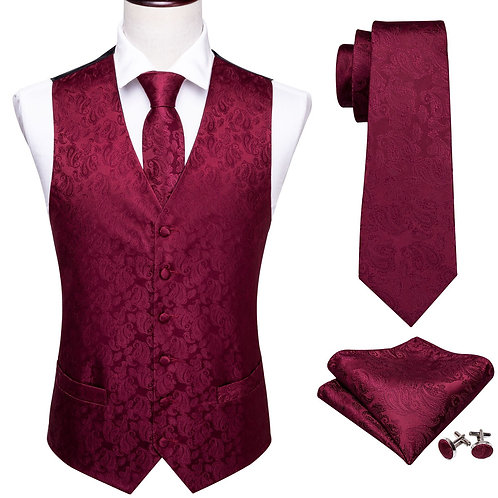 Mens Silk Vest Classic Party Wedding Red Paisley Solid Floral  Waistcoat Vest