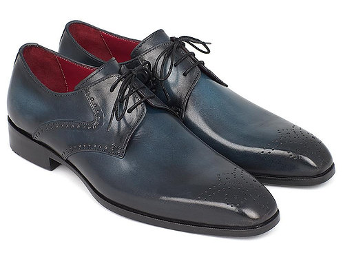 Paul Parkman Men's Navy & Blue Medallion Toe Derby Shoes