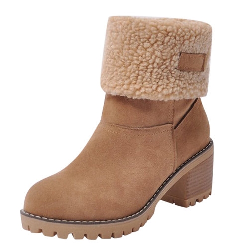 Women's Ladies Winter Shoes Flock Warm Boots