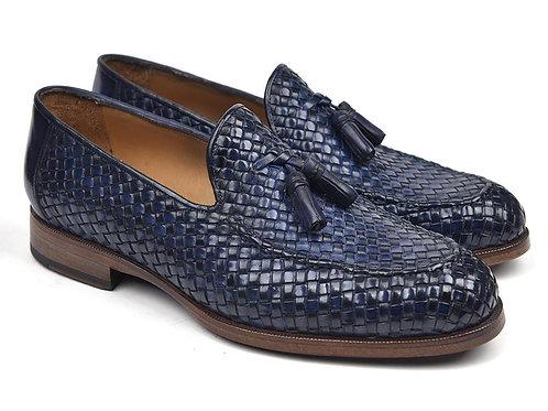 Paul Parkman Woven Leather Tassel Loafers Navy
