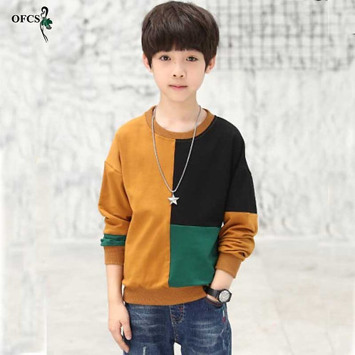 OFCS Fashion Patchwork Pattern Casual Style Autumn Knitted Boys Sweaters