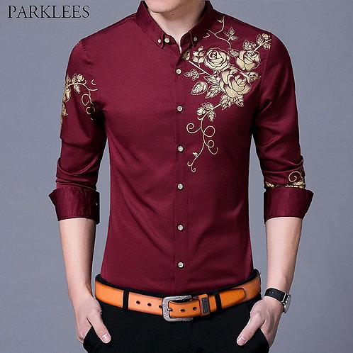 Brand Wine Red Mens Dress Shirts  Golden Rose Flower Print Button Down Shirt Men