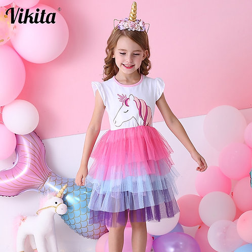 VIKITA Girls Unicorn Tutu Dress Kids Sequined Princess Vestido Girls Birthday