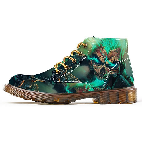 Fashion Boots for Men Unique Cool Skull Print Motorcycle Combat Boots
