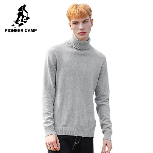 Pioneer Camp Autumn Turtleneck Sweater Men Cotton Solid Black Red Gray Causal