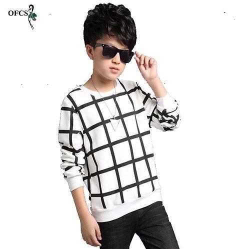 OFCS Autumn Boys Sweater Grid Design Printing Children Knitwear Boys Wool