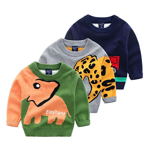 Knitted Toddler Boy Sweater Casual Cartoon Elephant Pattern Warm Cotton Boys