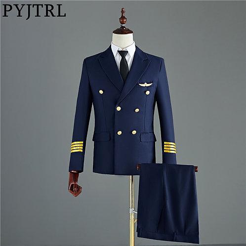 PYJTRL Navy Blue Black Mens Two-Piece Captain Suits Jacket and Pants Men