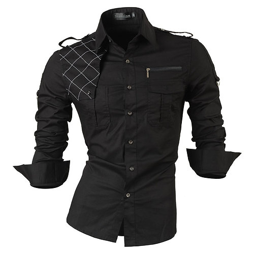 Jeansian Men's Long Sleeve Dress Casual Shirts Slim Fit Fashion
