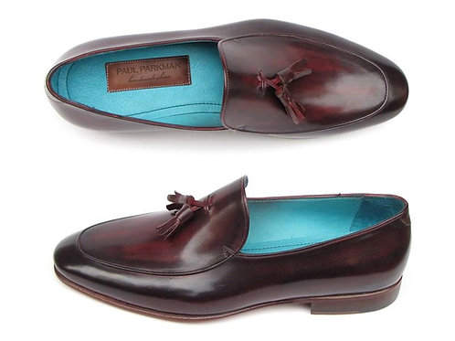 Paul Parkman Men's Tassel Loafer Black & Purple Shoes