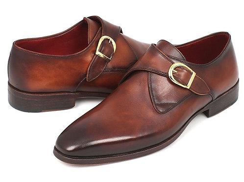 Paul Parkman Monkstrap Dress Shoes Brown & Camel