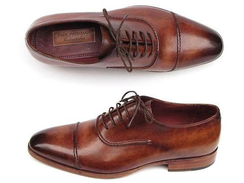 Paul Parkman Men's Captoe Oxfords Brown Hand Painted Shoes