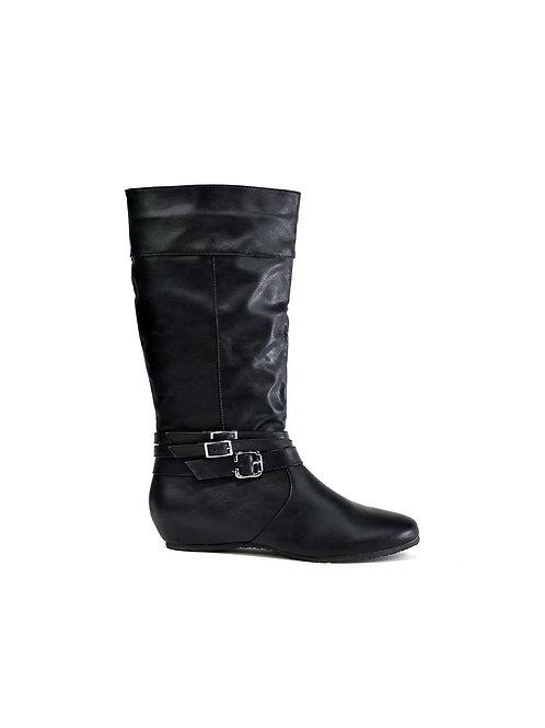 Triple Buckle Calf Boot Black